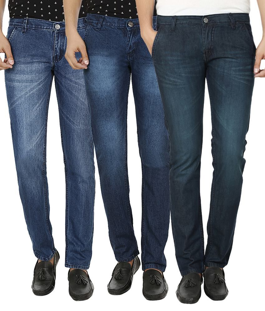 Club Vintage Blue Slim Fit Jeans - Pack Of 3