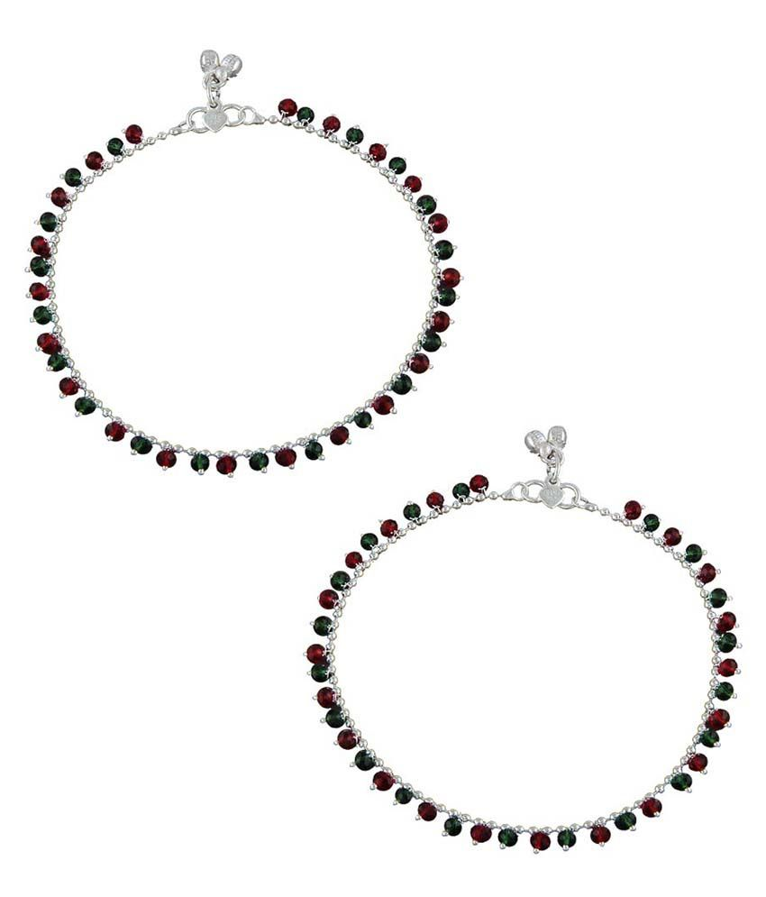 Anuradha Art Red Copper Pair Of Anklet