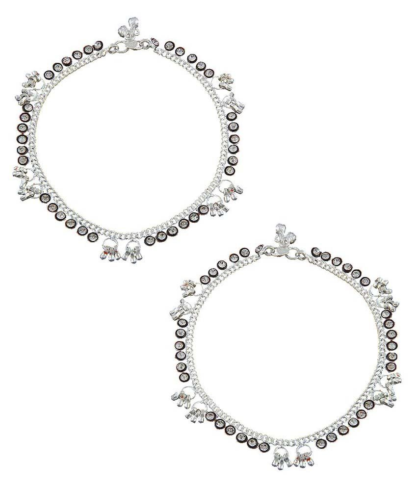 Anuradha Art Silver Copper Pair Of Anklet