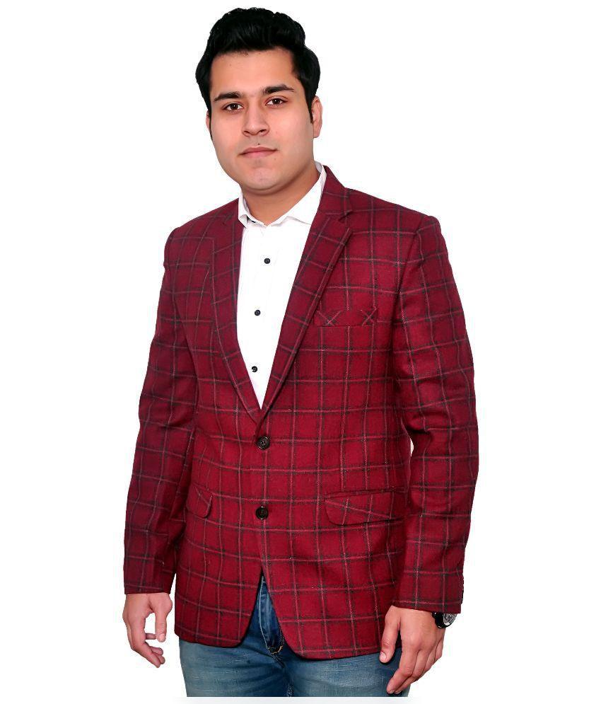Fabmark Maroon Woollen Blazer
