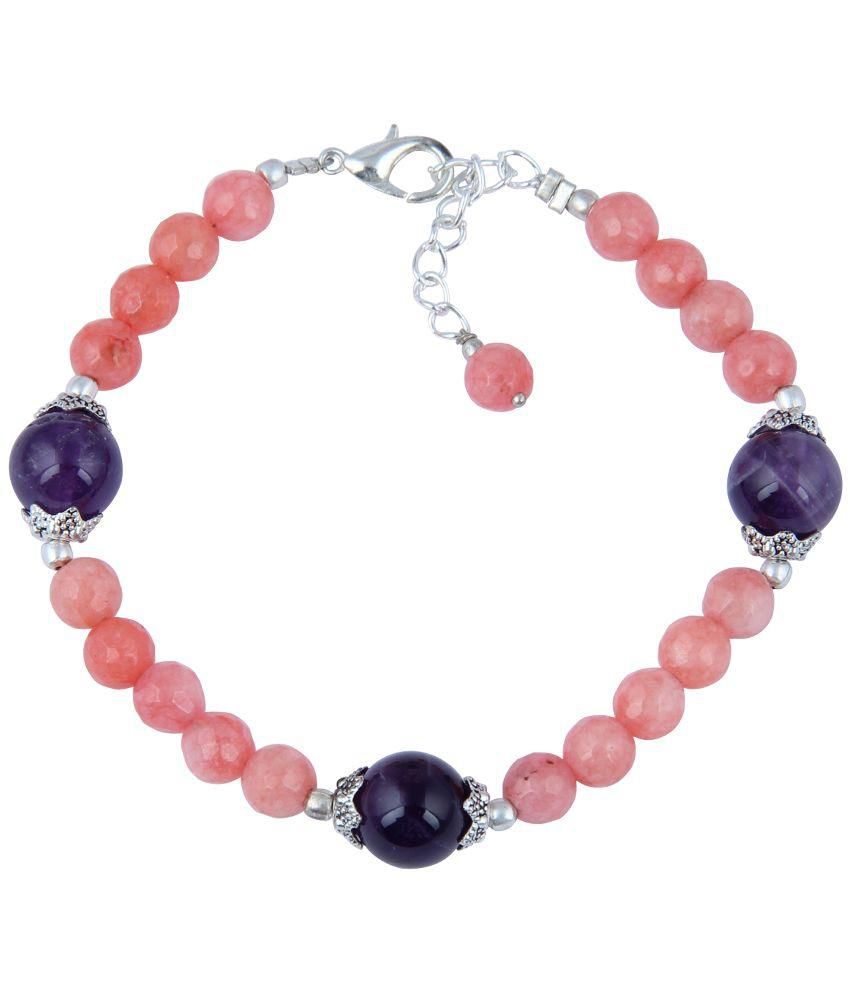 Pearlz Ocean Pink and Blue Faceted And Amethyst Round 7 Inch Beads Bracelet