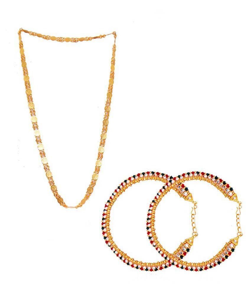 Ratnakar Golden Coin Mala with Kundan Payal