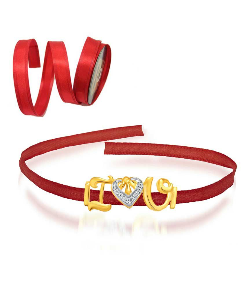 Vighnaharta Golden And Red Alloy Friendship Band