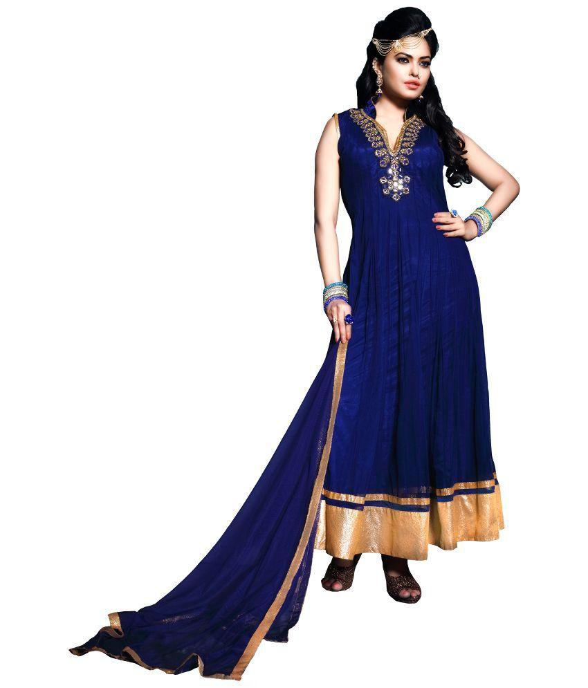 Fabfirki Fashion Hub Blue Net Anarkali Unstitched Dress Material