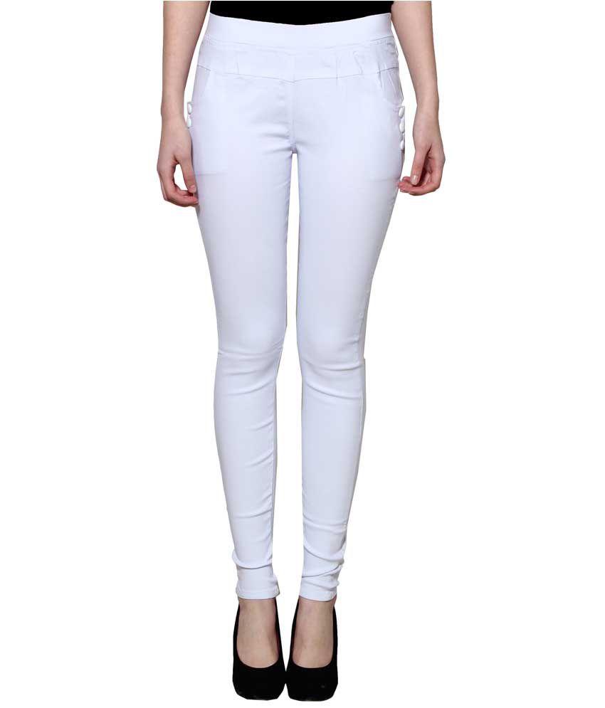 Lgc White Poly Cotton Jeggings