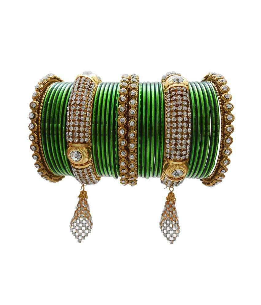 My Design Green Alloy Bangle Set
