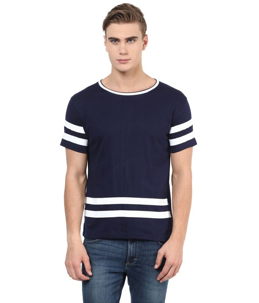 Benoit Navy Cotton T-shirt