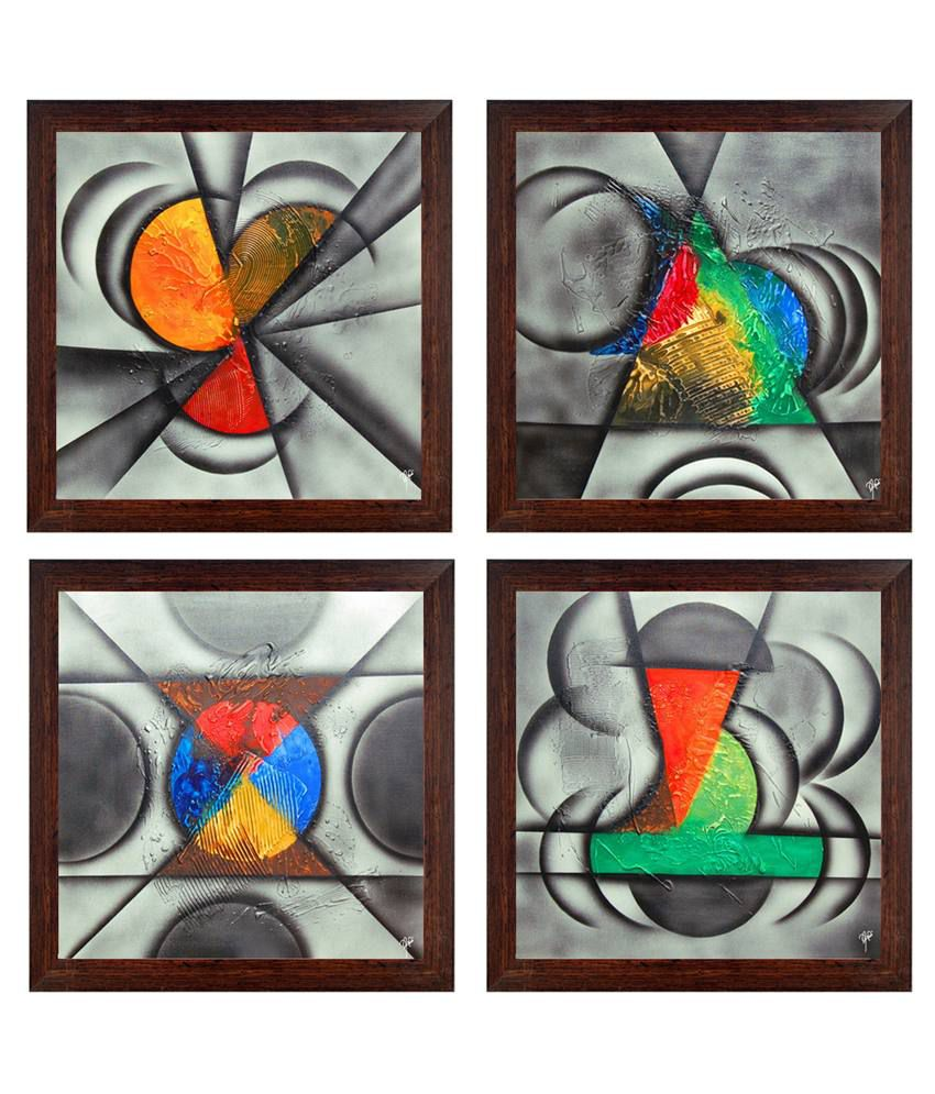 Ray Decor Multicolour Abstract Painting - Set Of 4
