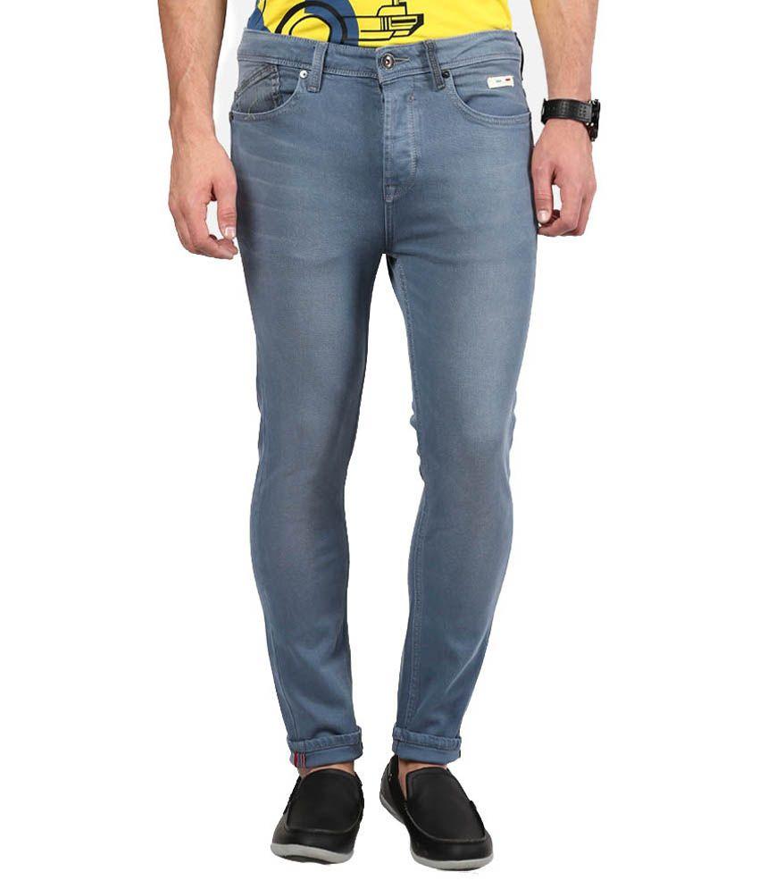 The Colors Grey Cotton Slim Fit Jeans