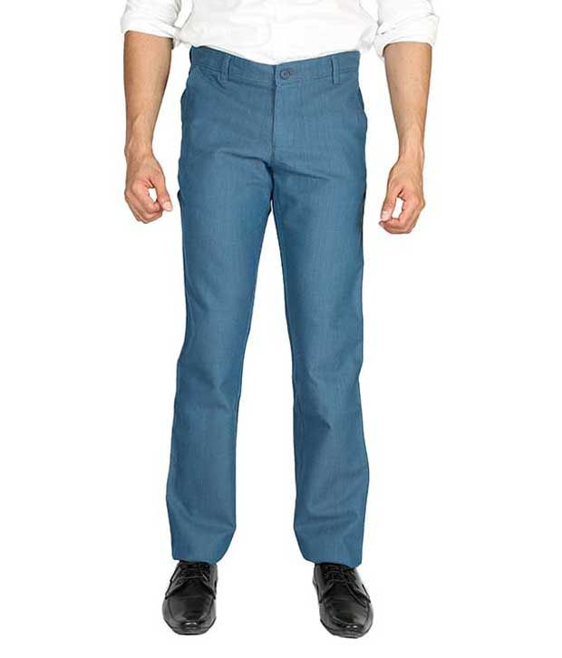 Wax Woods Blue Regular Fit Casual Flat Trousers