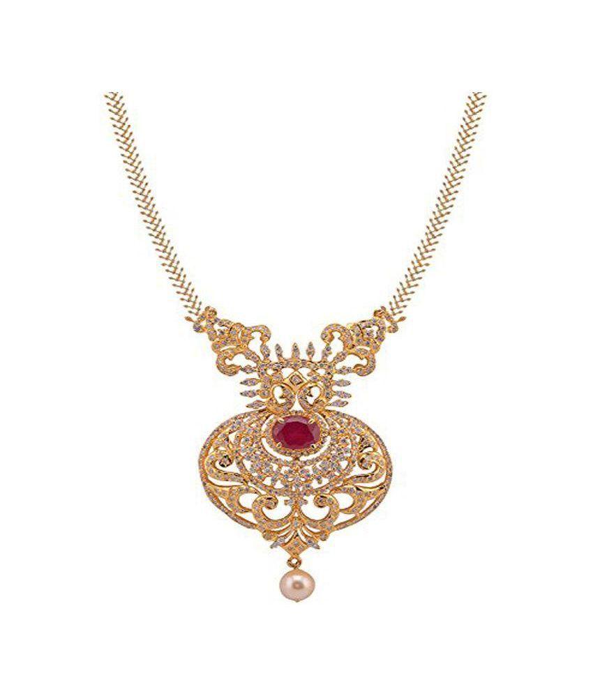 Violet & Purple Golden American Diamond Necklace Set