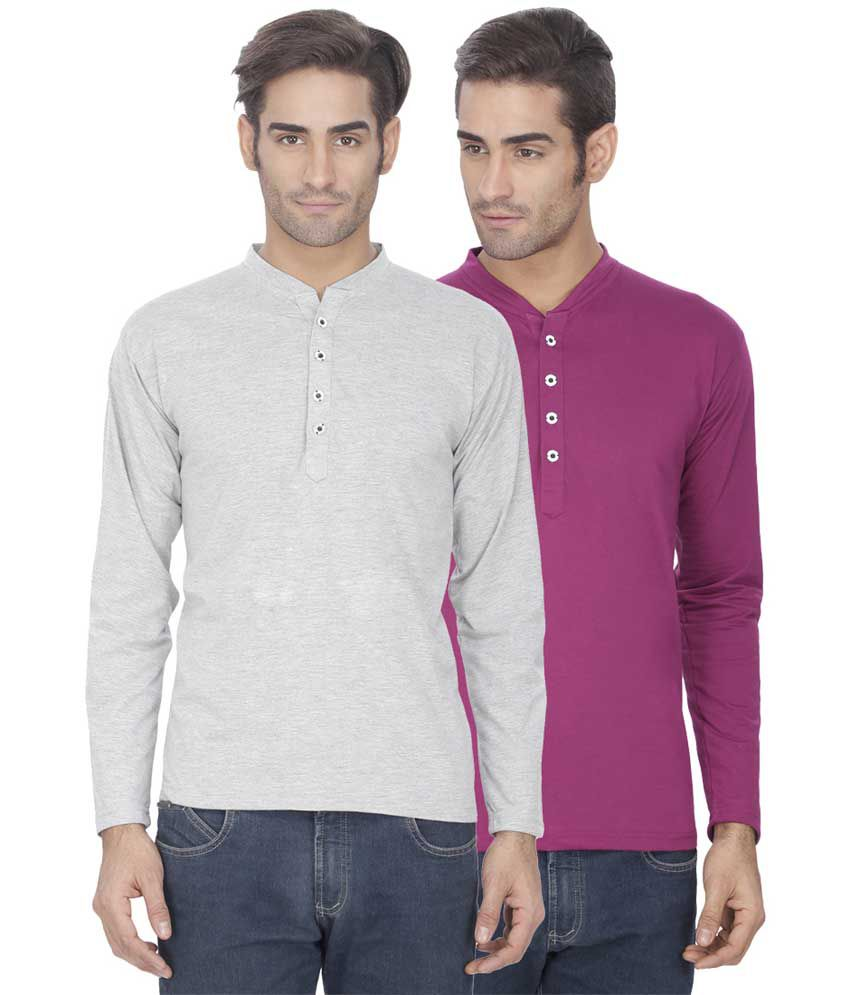 Esoul Solid Men's Grey & Purple Henley Tshirt