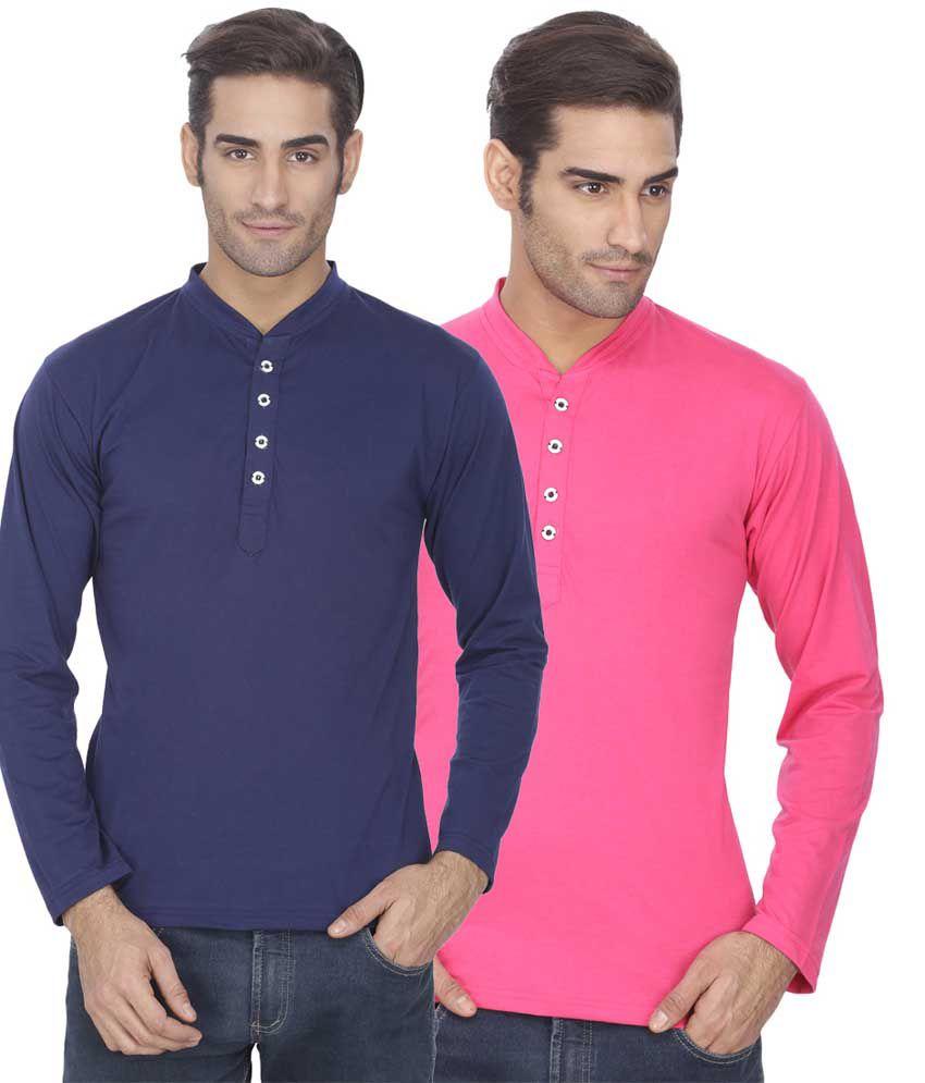 Esoul Solid Men's Navy & Pink Henley Tshirt