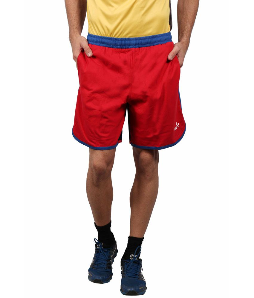 Fitz Red Polyester Solids Shorts