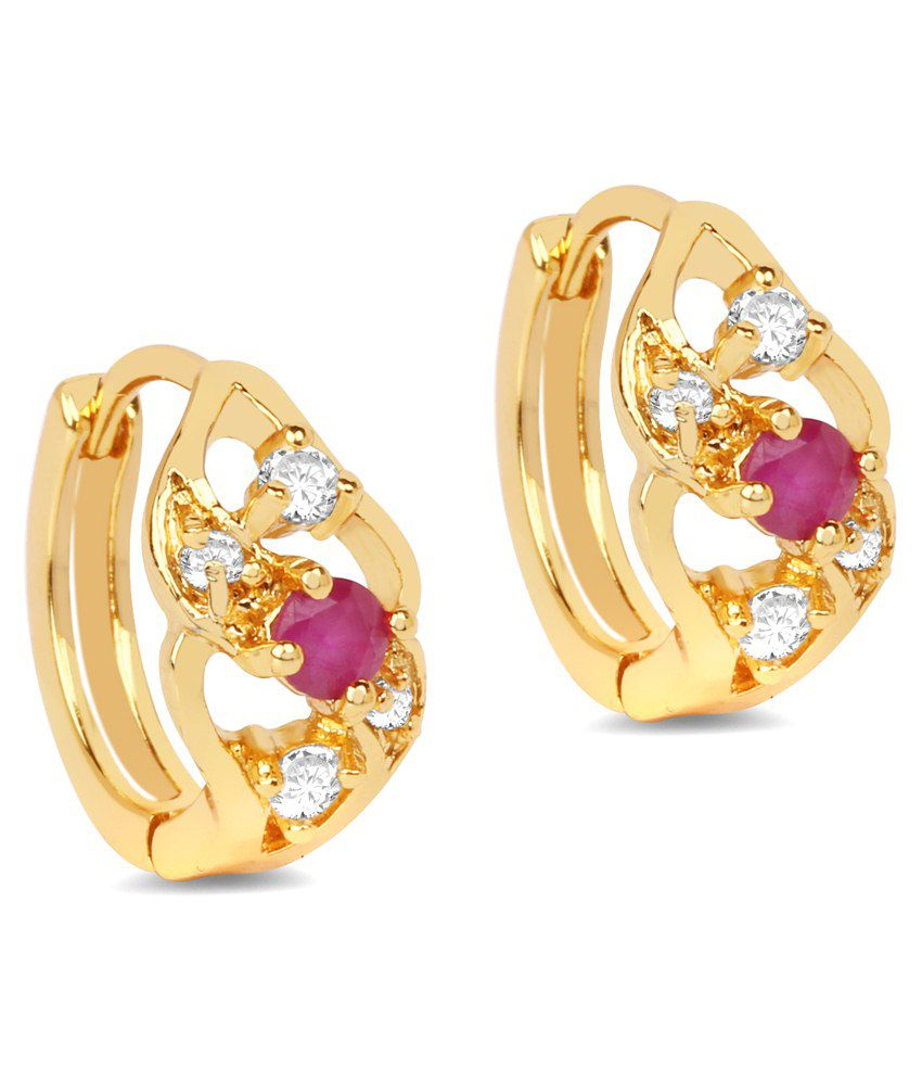 Johareez 2.53 Grams Pink Glass & White Cubic Zirconia Gold Plated Brass Earrings