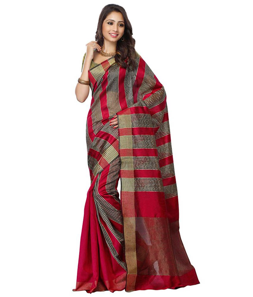 Four Seasons Maroon Cotton Saree