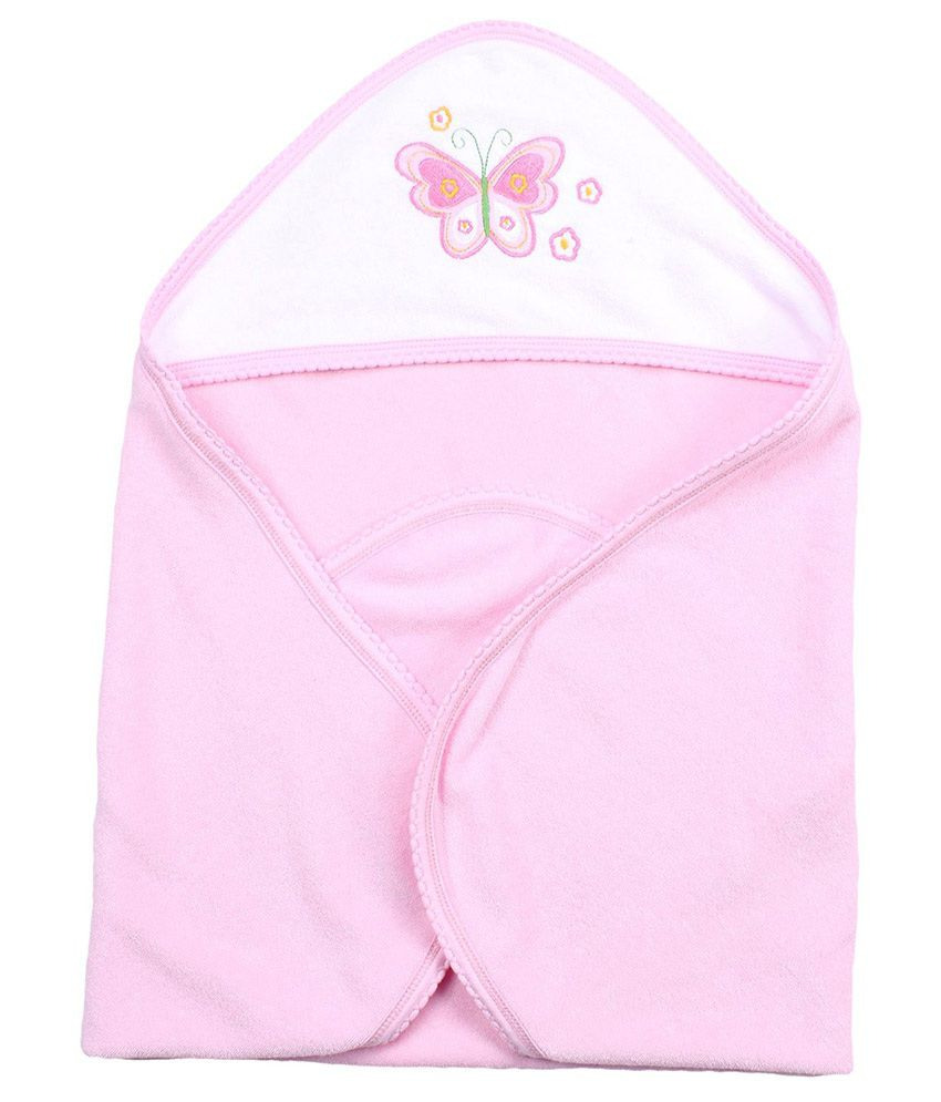 Quick Dry Pink Cotton Butterfly Embroidery Towel