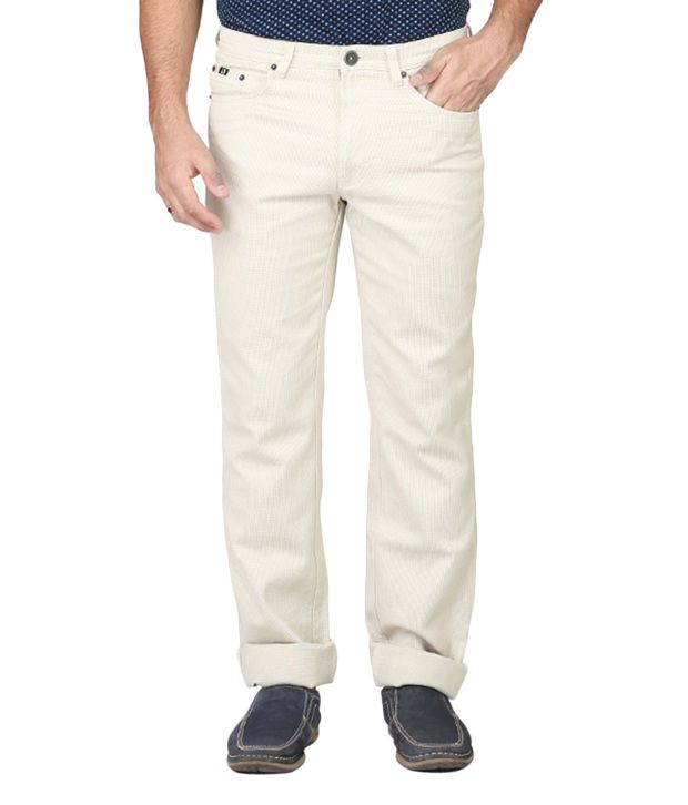Irony Off-white Regular Fit Casual Flat Trouser For Men