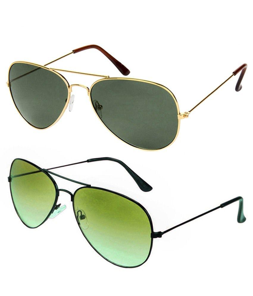 Shoaga Combo Of 2 Golden Metal Sunglasses For Men