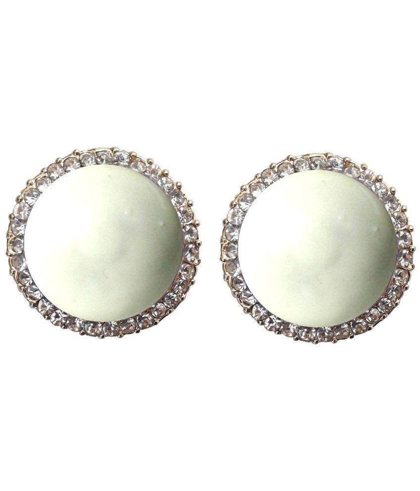 Shreya Collection White Designer Stud Earrings