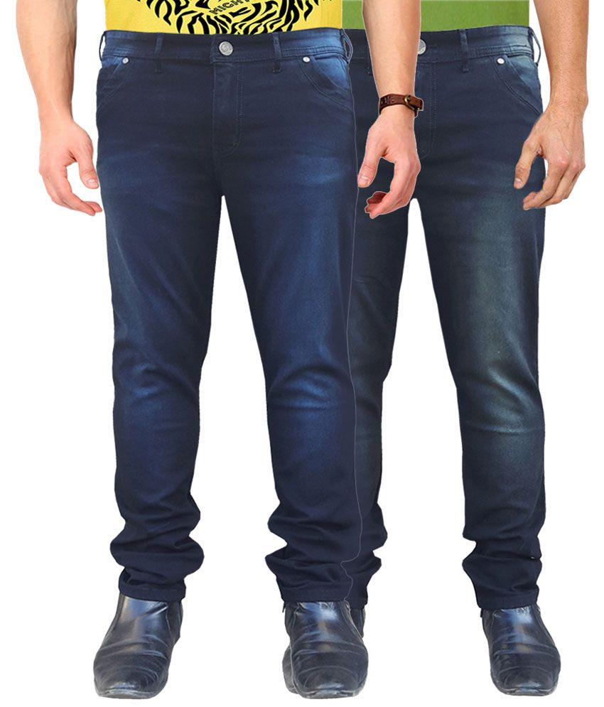 White Pelican Blue Slim Fit Stretchable Jeans - Combo of 2