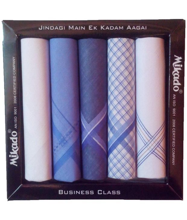 Mikado Multicolour Cotton Hankerchief For Men - Pack Of 5