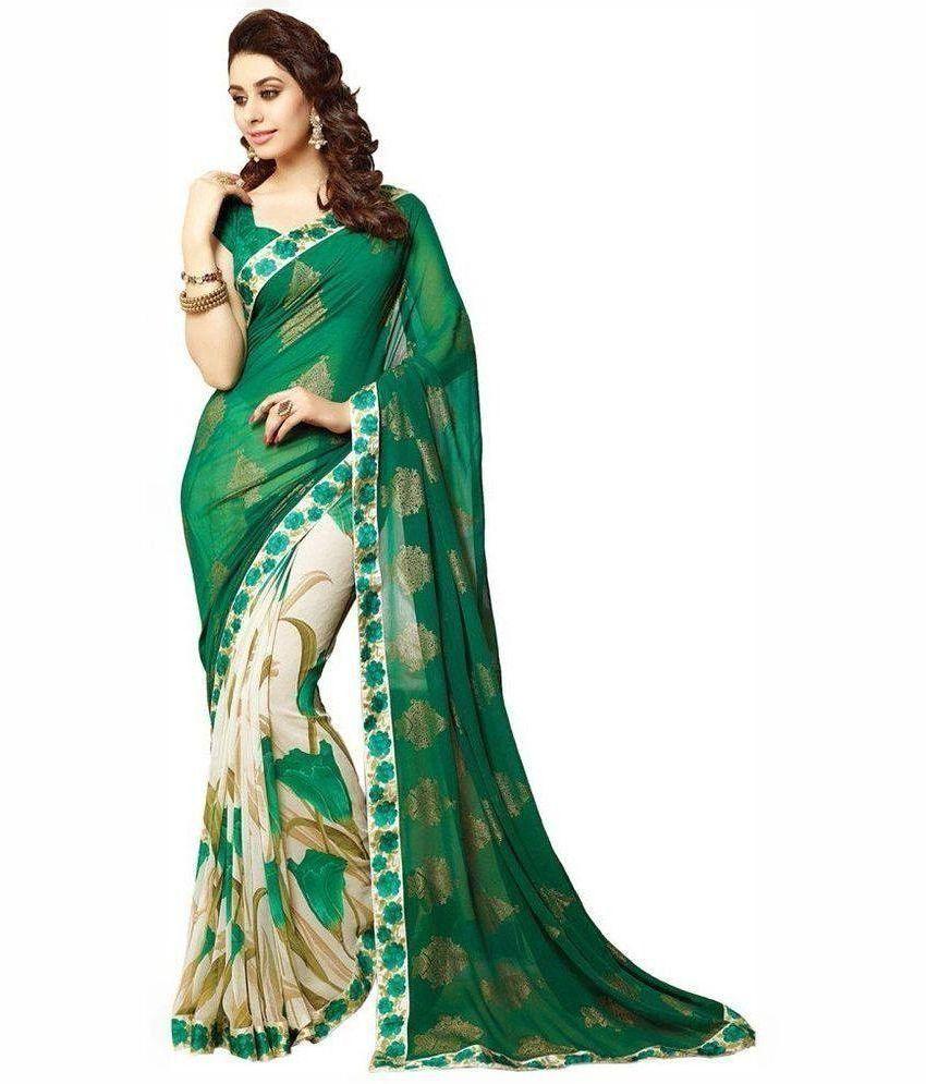 Sneha Fancy Designer Sarees Green Georgette Saree Buy