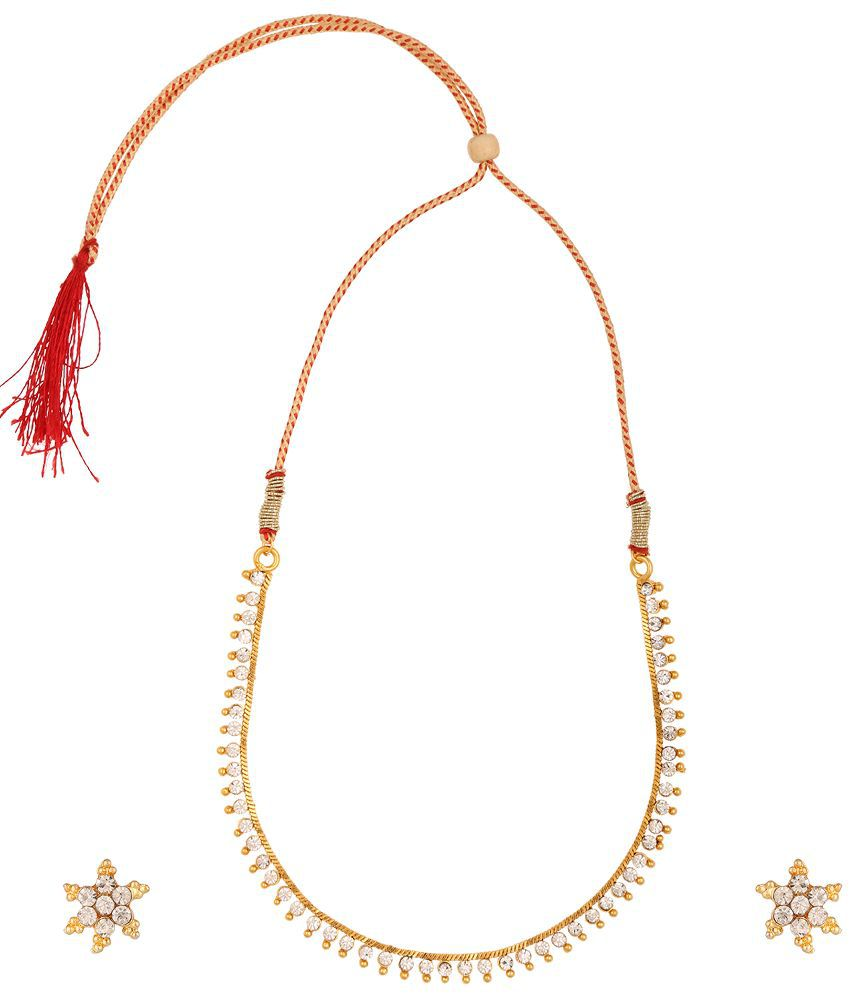 Fashionaya Alloy Necklace Set With Maang Tika