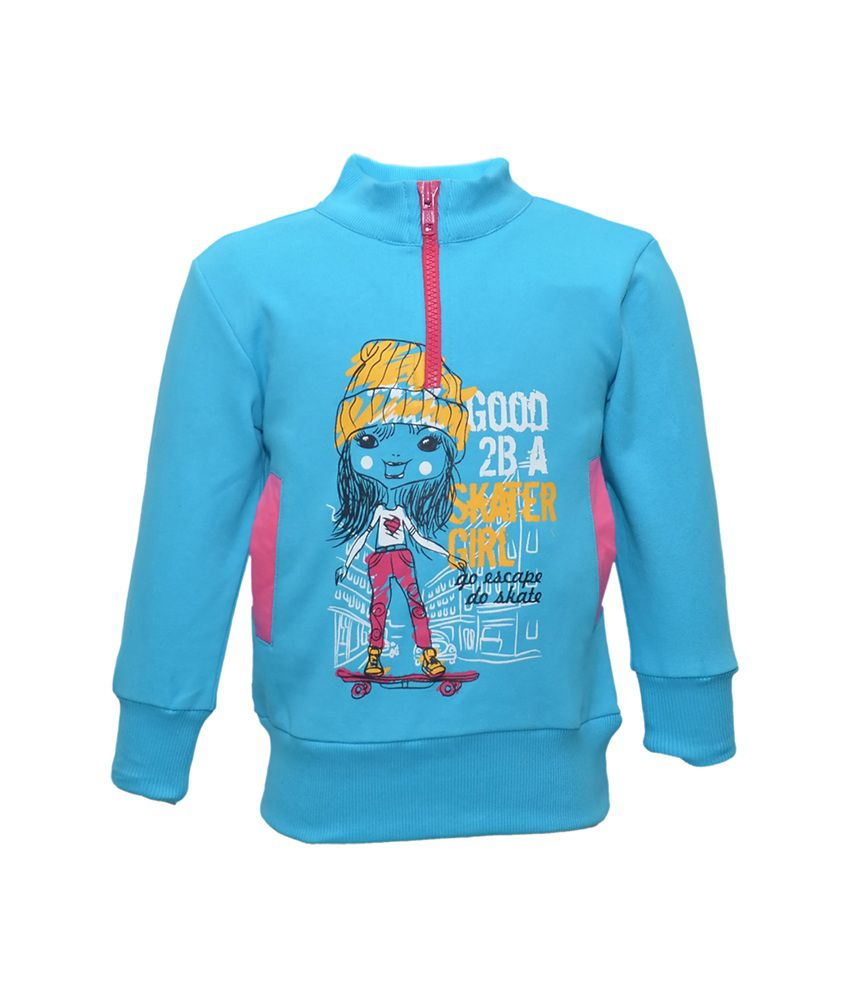 Cool Quotient Blue Cotton Without Hood Sweatshirt For Girls