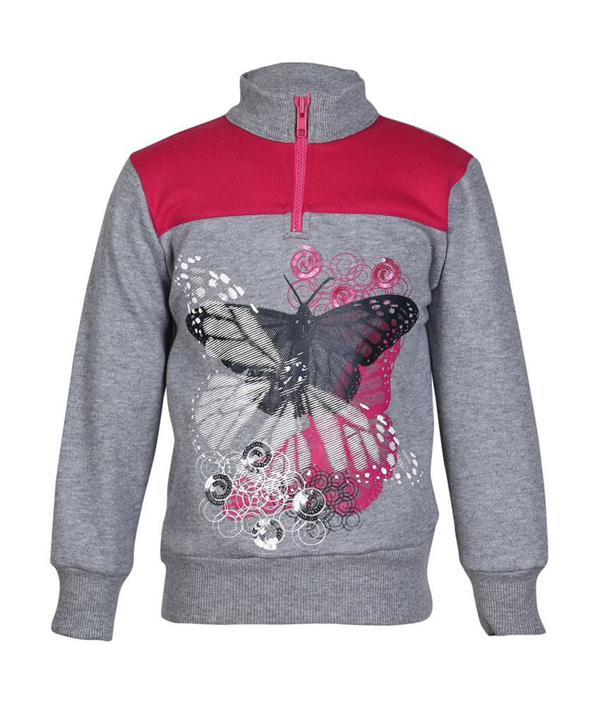 Cool Quotient Gray Cotton Sweatshirt For Girls