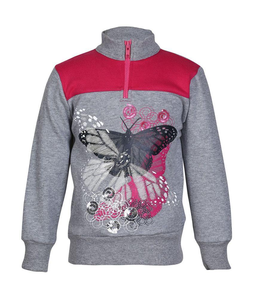 Cool Quotient Gray Cotton Sweatshirt For Girls