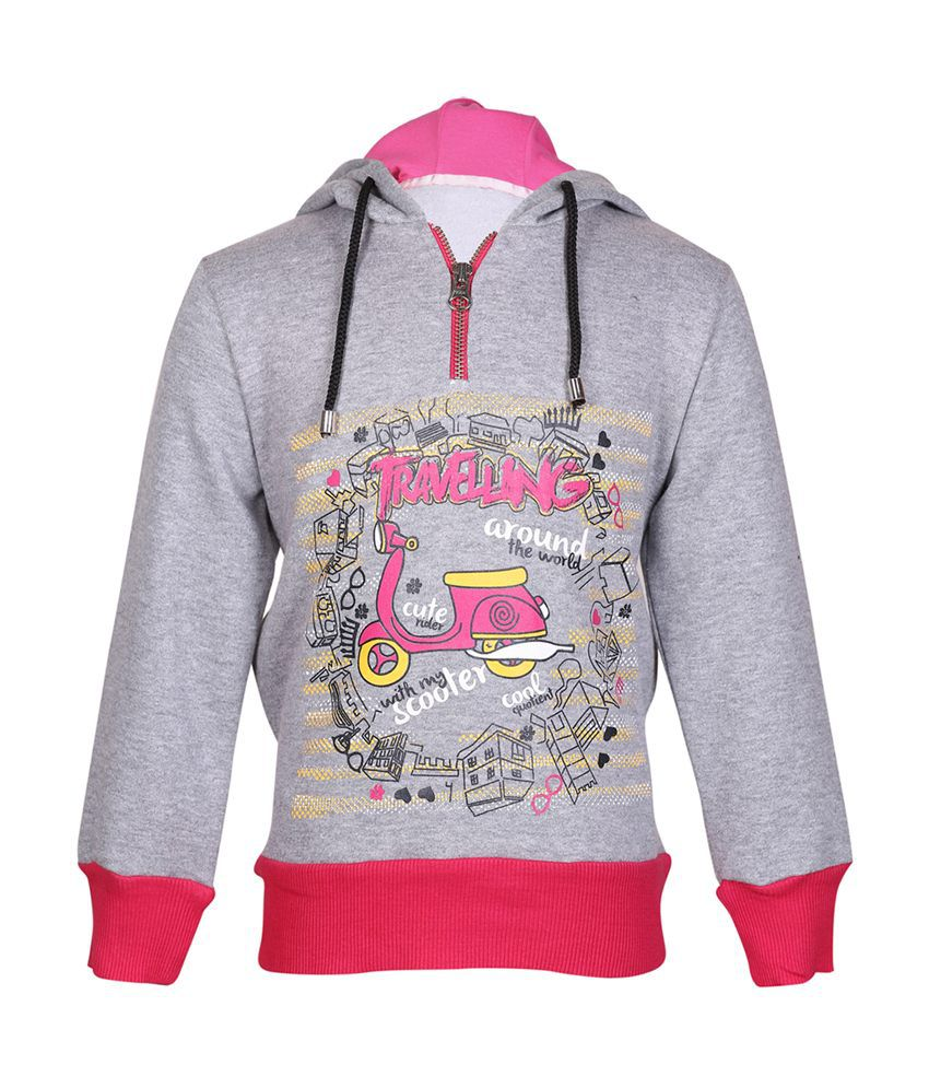 Cool Quotient Gray Cotton With Hood Sweatshirt For Girls