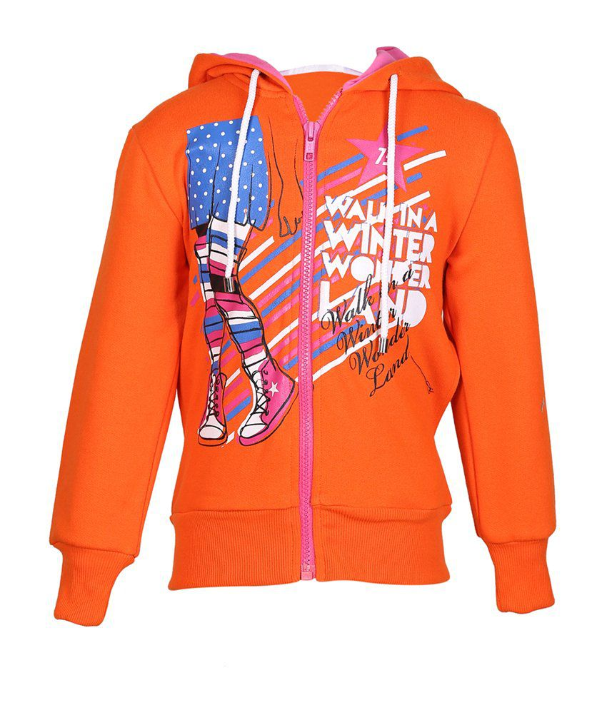 Cool Quotient Orange Cotton Zipper Sweatshirt For Girls
