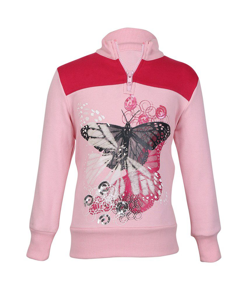 Cool Quotient Pink Cotton Sweatshirt For Girls