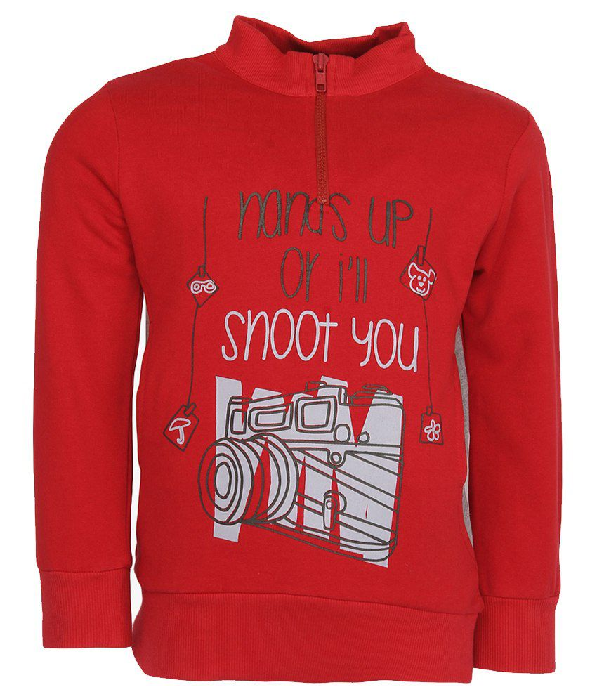 Cool Quotient Red Cotton Sweatshirt For Girls