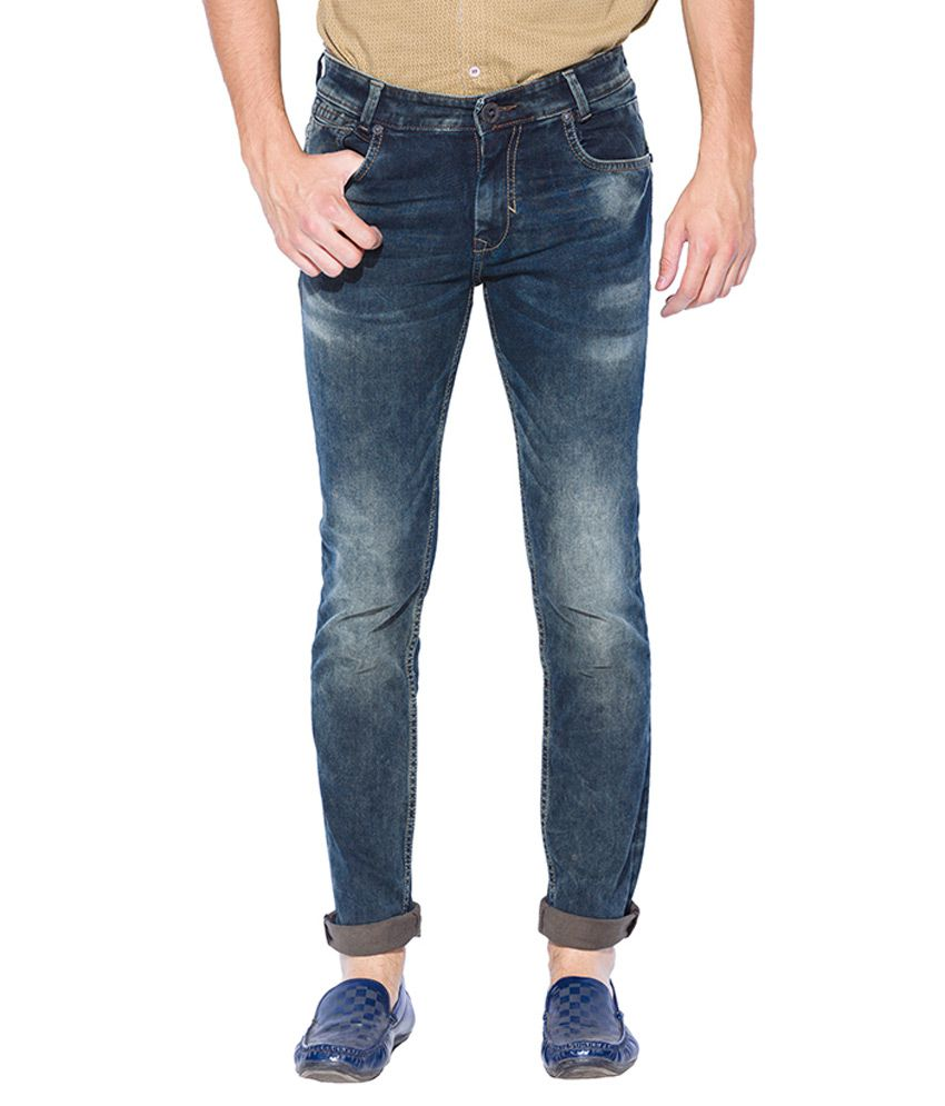 Mufti Tinted Green Slim Fit Jeans