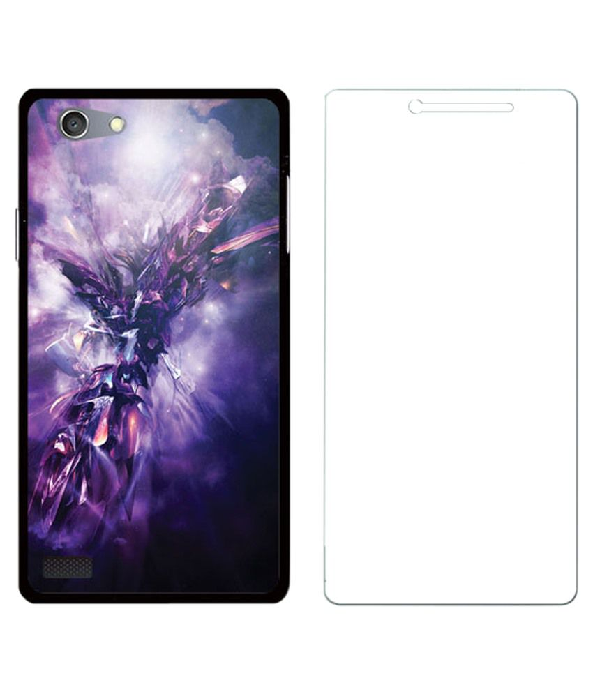 Treecase Back Cover For Oppo Neo 7-multicolour With Tempered Glass