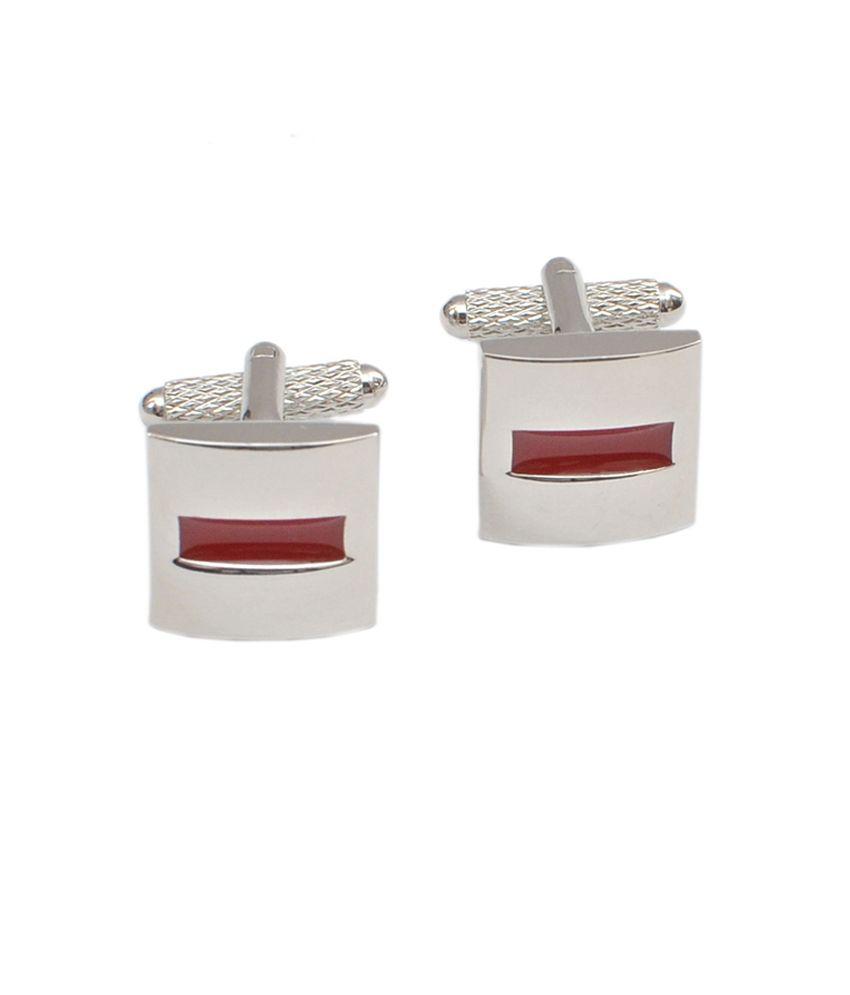 Alvaro Castagnino Silver And Red Metal Enamel Cufflinks