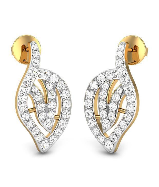 Candere Neelam Diamond Earring 14k Yellow Gold