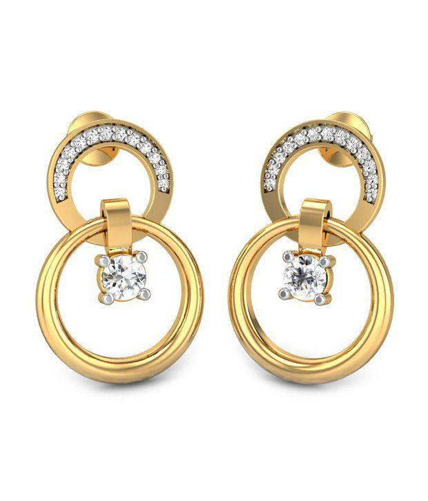 Candere Stamen Diamond Earring 14k Yellow Gold