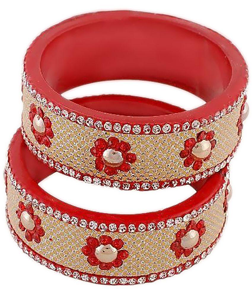 Chandra Creations Red and Maroon Lac Bangle Set