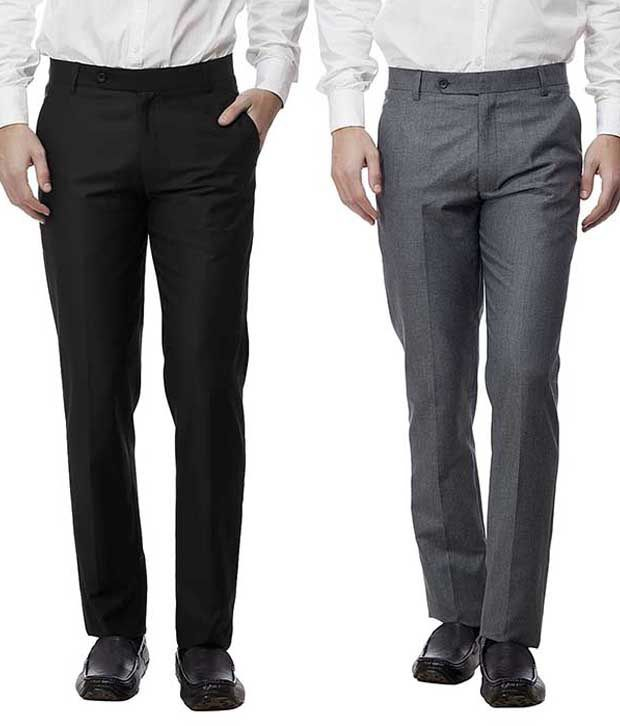 Divini Multicolor Slim Fit Formal Wear Flat Trousers - Pack Of 2