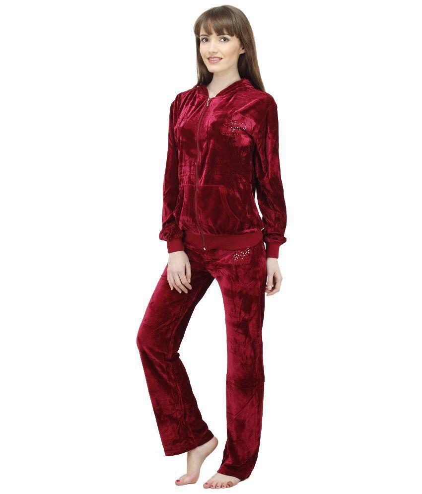 Camey Maroon Velvette Nightsuit Sets