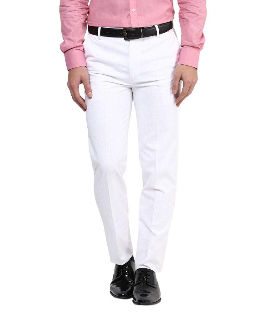 Bukkl White Linen Regular Fit Formal Flat Trouser