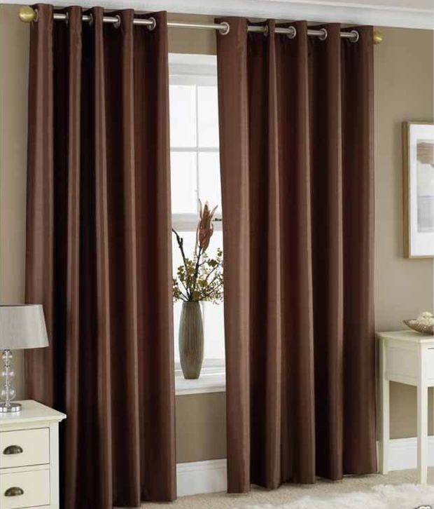 Geonature Brown Natural Polyester Door Curtain Set Of 2 Floral Brown   Buy  Geonature Brown Natural Polyester Door Curtain Set Of 2 Floral Brown Online  At ...