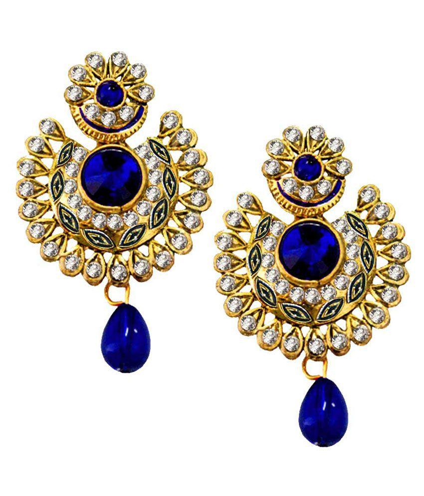 Pihu  Blue  Gold Plated Stone Studded   Drop Earring