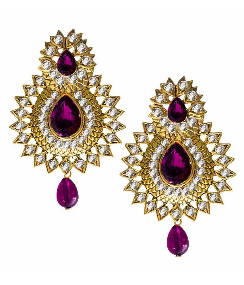 Pihu Purple Alloy Drop Earrings