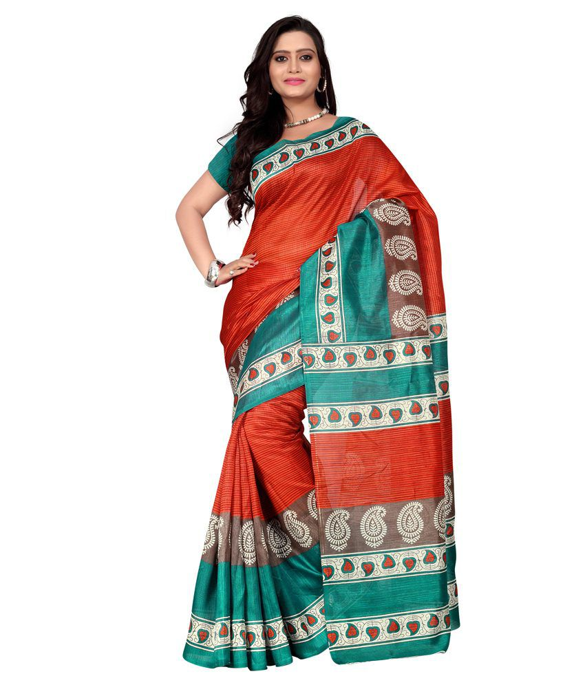 Vardhita Fashion Orange Bhagalpuri Silk Saree