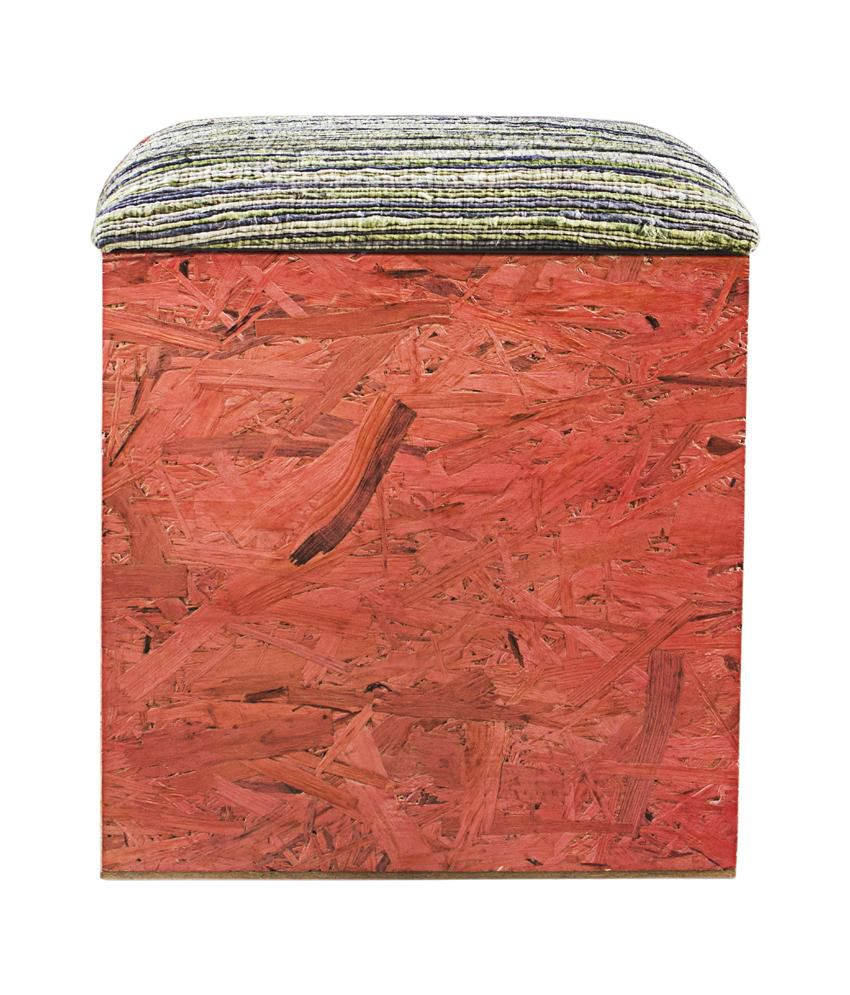 Inliving Solid Wood Red Sarah Box Pouffe
