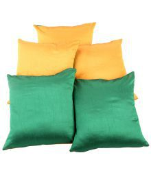 Rajrang Yellow And Green Plain Poly Cotton Reversible Cushion Covers - Set Of 5